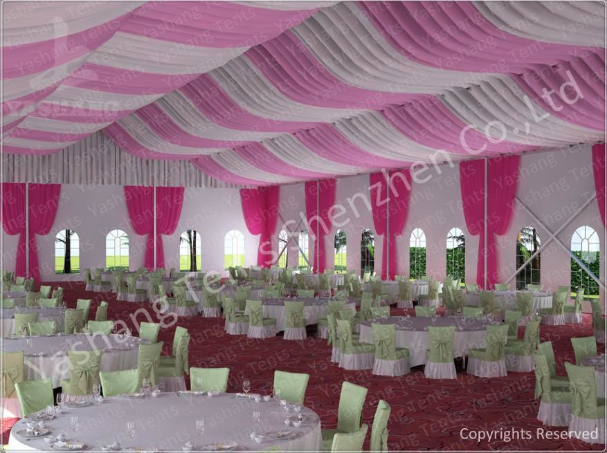 300 People Luxury Wedding Tents Rentals Aluminium Frame Marquee With Transparent PVC Windows
